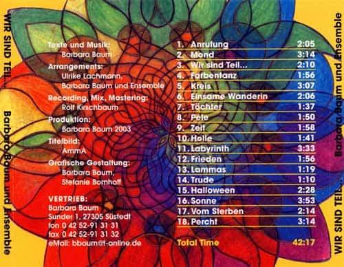 CD Wir sind Teil - Lieder im Jahreskreis - Titel